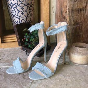 ✅SOLD! New Trendy Denim Open Toe Heels